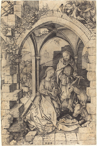 The Nativity by Martin Schongauer. 1470 German Renaissance engraving of nativity scene