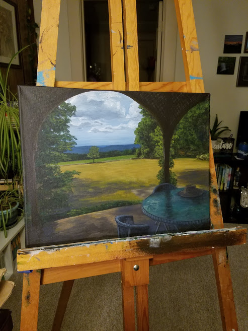 Work in progress photo on easel. Late Summer on the Porch by Laura Jaen Smith. Painting of the porch at Quarry Farm in late summer looking out at the rolling hills of Elmira, ny.