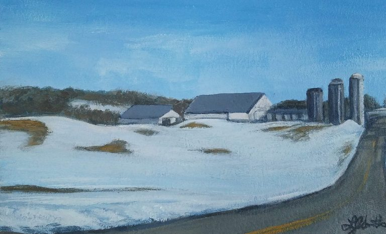 Snowy Farm by Laura Jaen Smith. Acrylic painting of snowy field along road with farm on top of hill in Horseheads, New York