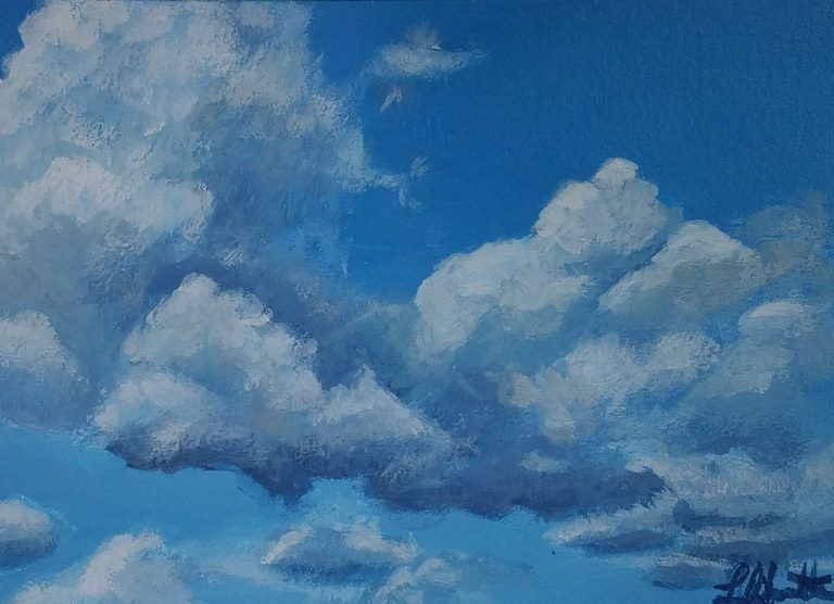 Clouds 1 by Laura Jaen Smith. Acrylic painting of blue sky with clouds.