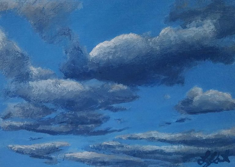 Clouds 5 by Laura Jaen Smith. Acrylic painting of blue sky with clouds.