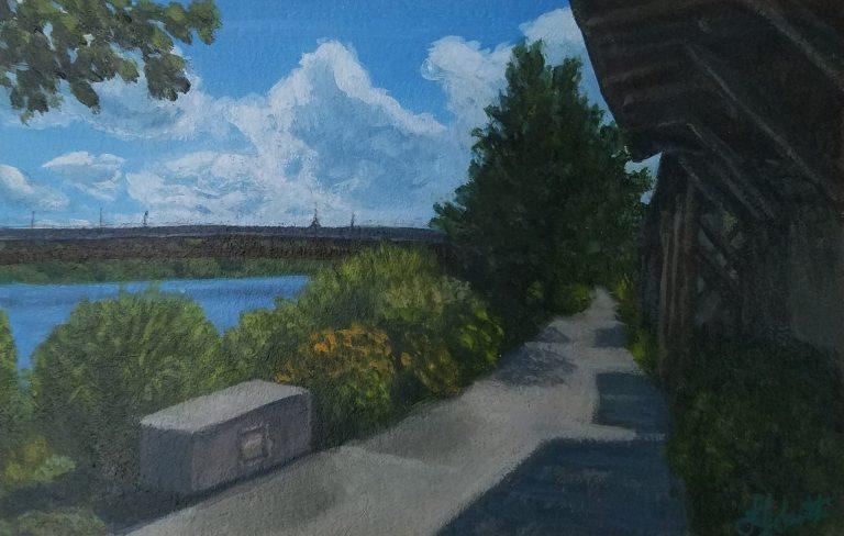 Summer Stroll by Laura Jaen Smith. Acrylic painting of Owego Riverwalk on path walking towards bridge.