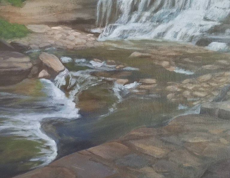 """Close up of river rocks from painting """"Escape to Paradise"""" by Laura Jaen Smith. Palette shaped painting of waterfall in Cascadilla Gorge Ithaca, New York"""