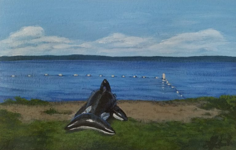 Ready to Swim by Laura Jaen Smith. Painting of Seneca Lake along the shore beach with inflatable orca.