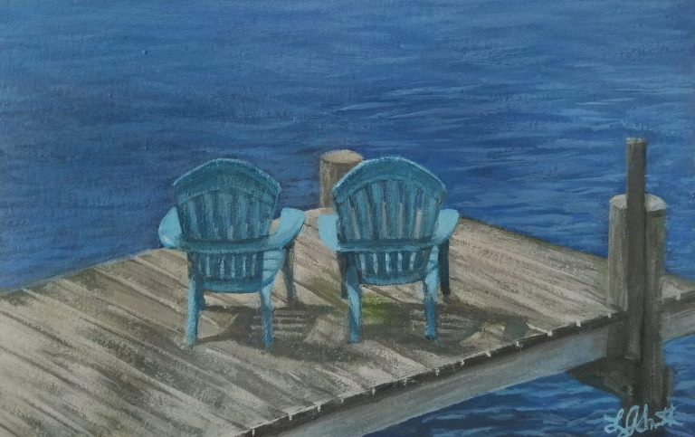 Two Blue Chairs by Laura Jaen Smith. Painting of lakeside dock with two blue adirondack chairs