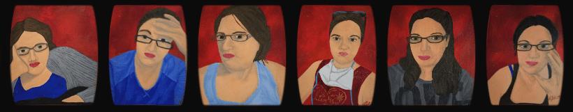 Corona Self-Portraits by Laura Jaen Smith. Gouache self-portrait paintings.