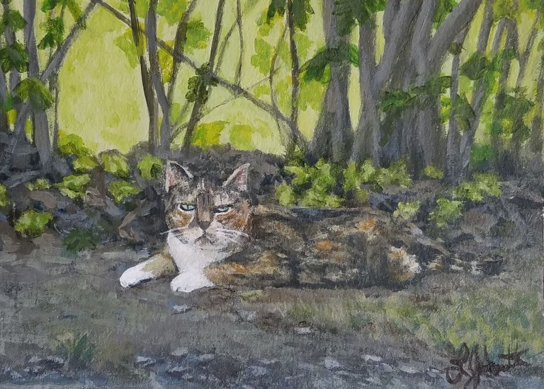 Faithful Companion by Laura Jaen Smith. Painting of Calico cat at Quarry Farm.