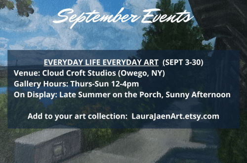 September events graphic with Owego Riverwalk painting background