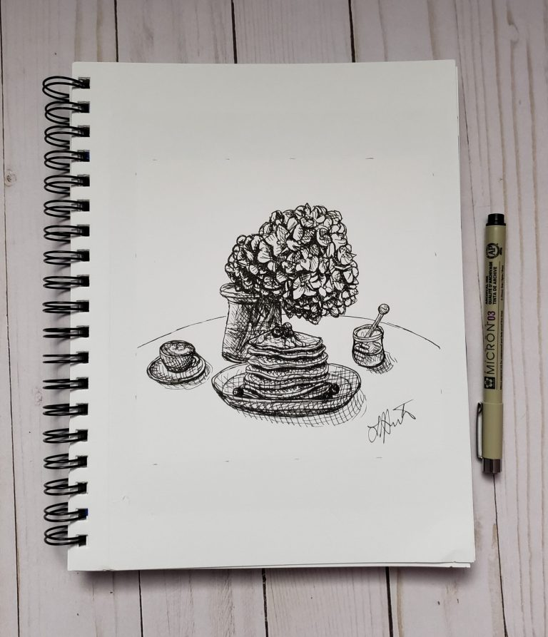 Inktober day 3 ink drawing challenge. Table with plate of stacked pancakes, vase of hydrangea, honey, and coffee cup with saucer.