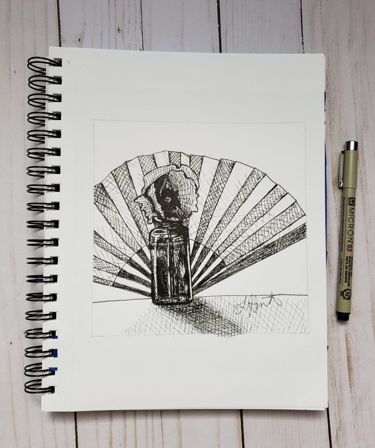 Inktober day 7 ink drawing challenge. Glass vial with single poppy inside, decorative fan behind.