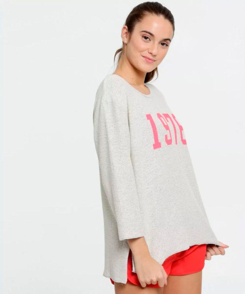Blusa fitness manga longa cinza e rosa