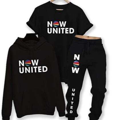 Conjunto moletom blusa capuz camiseta e calça Now United preto