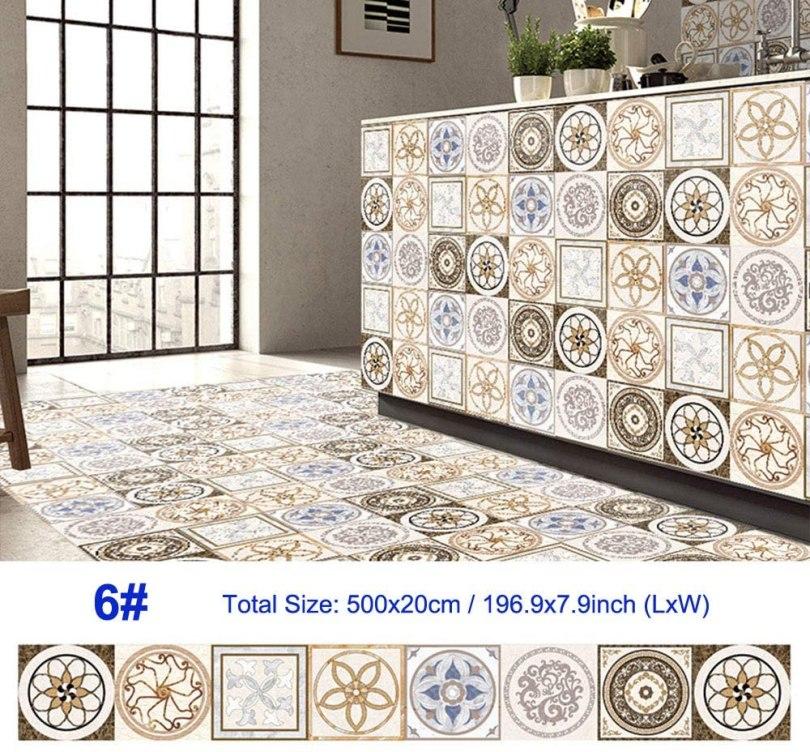 azulejo decorado adesivo bege colorido para cozinha