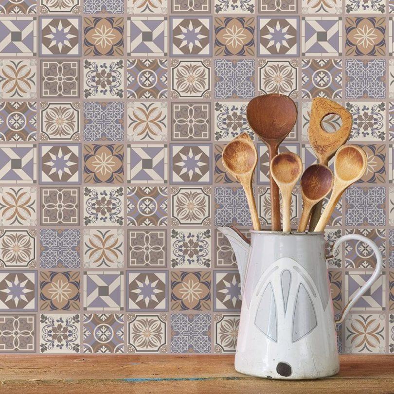azulejo decorado adesivo lavanda para cozinha