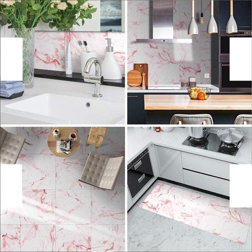 azulejo decorado rosa adesivo para cozinha