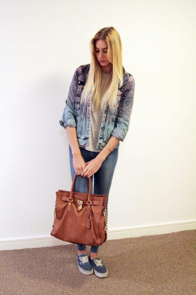 manchester based fashion and lifestyle blogger. topshop denim jacket, river island jeans, michael kors handbag, vans pumps, river island vest.