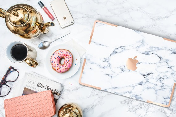Etsy Macbook Case - Marble and Gold
