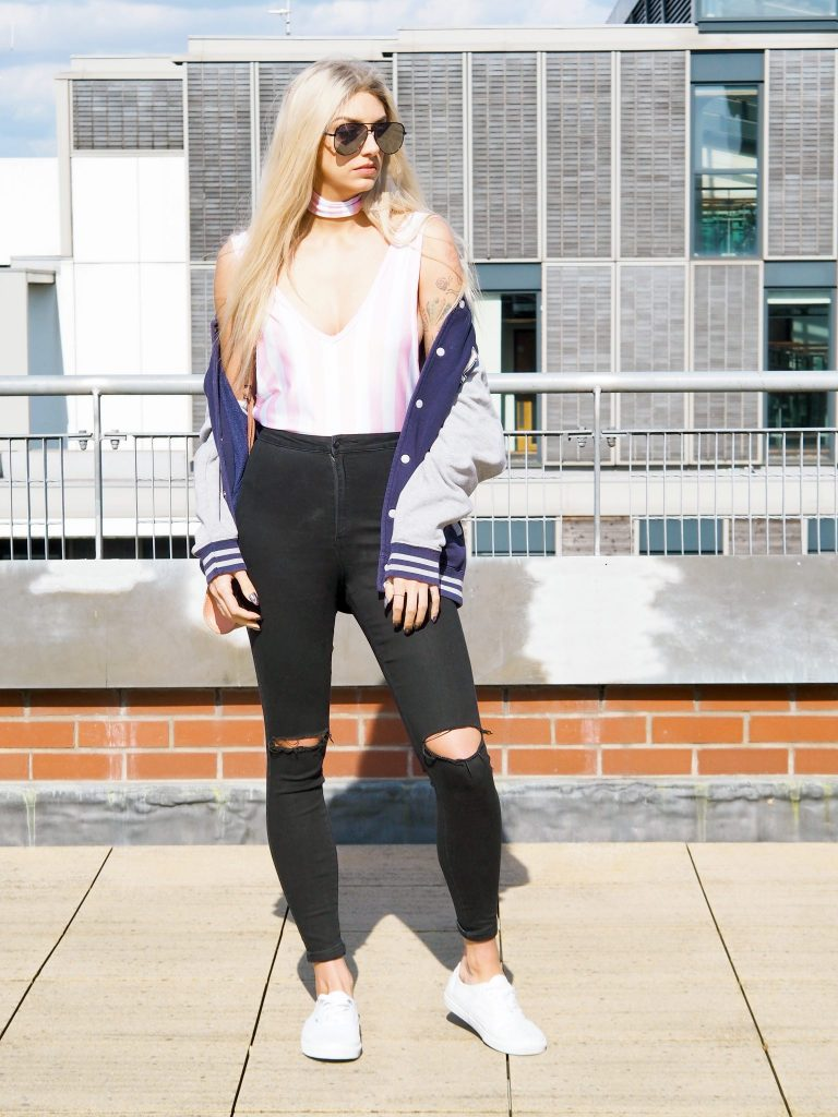 Laura Kate Lucas - Manchester fashioned Lifestyle Blogger | To Save Outfit Post - Candy Stripes Bodysuit and Ripped Jeans