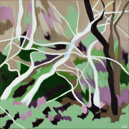 Close-up of Abstracted Sculptural Trees, contemporary landscape painting.