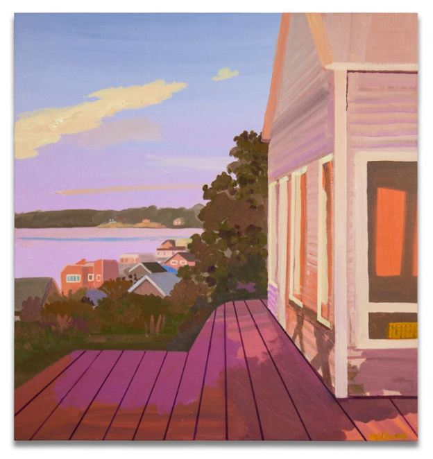 Daniel Hedkamp's painting Red Veranda, included in the book Contemporary Landscape Now, example of Post-Pop Landscape Art.