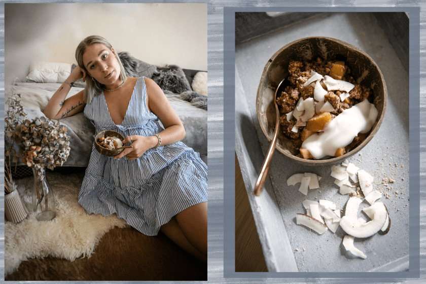 vegan-food-vegan food-crumble-healthy-dessert-sugarfree-zuckerfrei-low sugar-gesunde nachspeise-winter dessert-autumn dessert-recipe-vegan recipe-foodblogger-lauralamode-munich-berlin