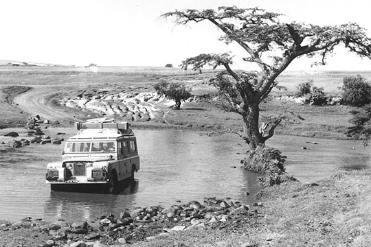 Land rover in river