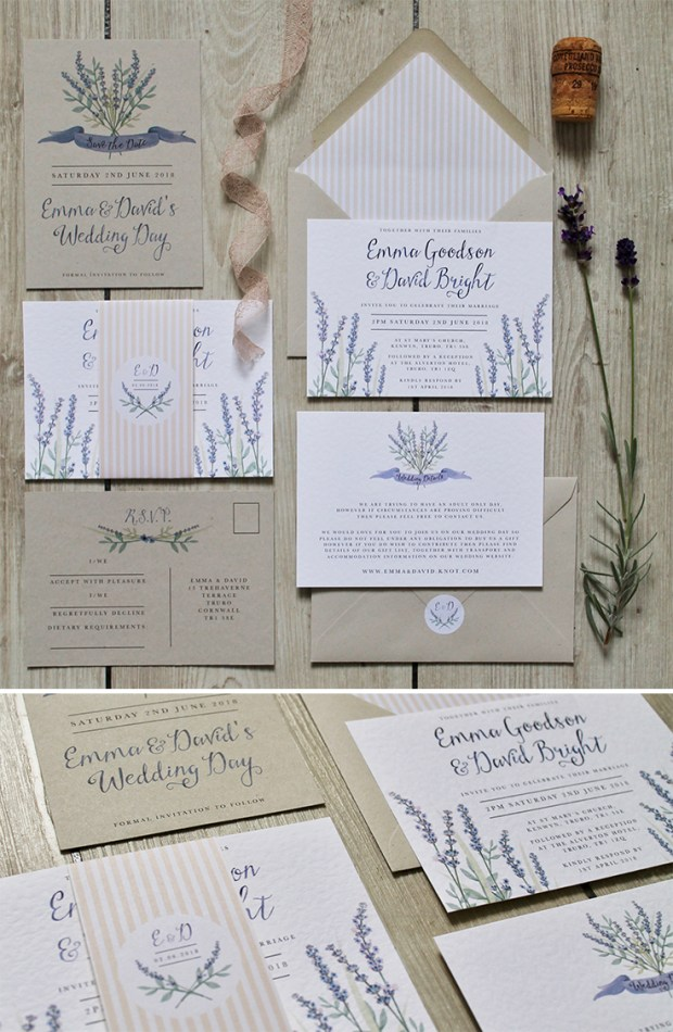 lavender, Provence, purple, lilac, French, linen, floral, flowers, invitation, invitations, invite, invites, stationery, stationary, wedding, laura likes, Cornwall, calligraphy, hand lettering, contemporary, cornish