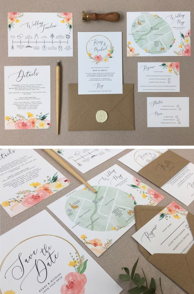 wedding, stationery, invitation, invite, invitation, invites, floral, hoop, flower, coral, bright, boho, sunny, yellow, pink, peonies, peony, map, cornwall, Laura likes