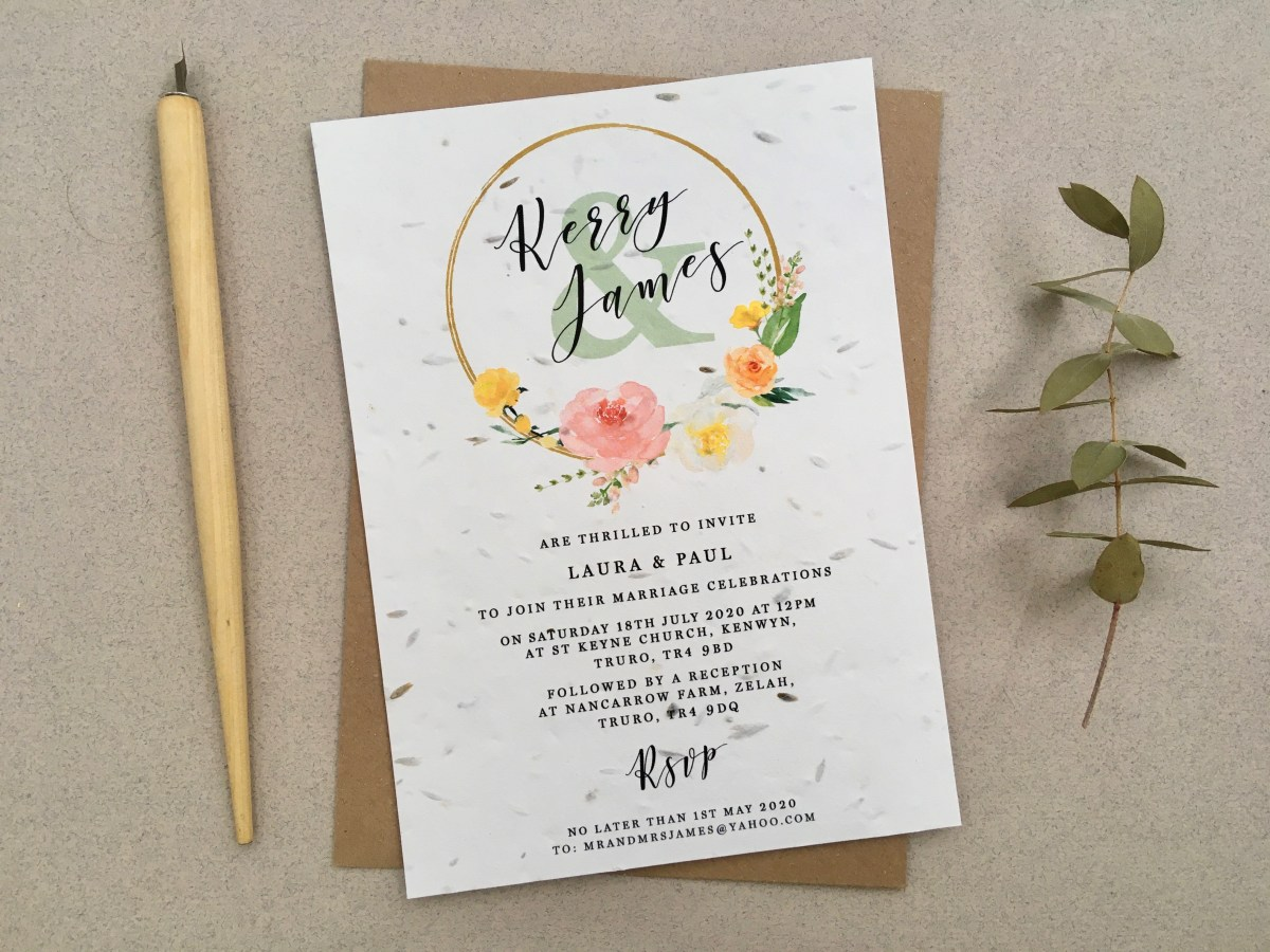 seed, paper, uk, invitation, invitations, invite, wedding, invites, eco, zero waste bright, coral, hoop, simple, Cornwall,