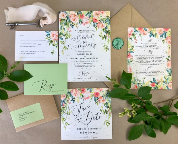 seed, paper, eco, sustainable, recycled, friendly, seeded, plantable, invitation, invitations, invite, invites, stationery, Cornwall, Laura, likes, uk