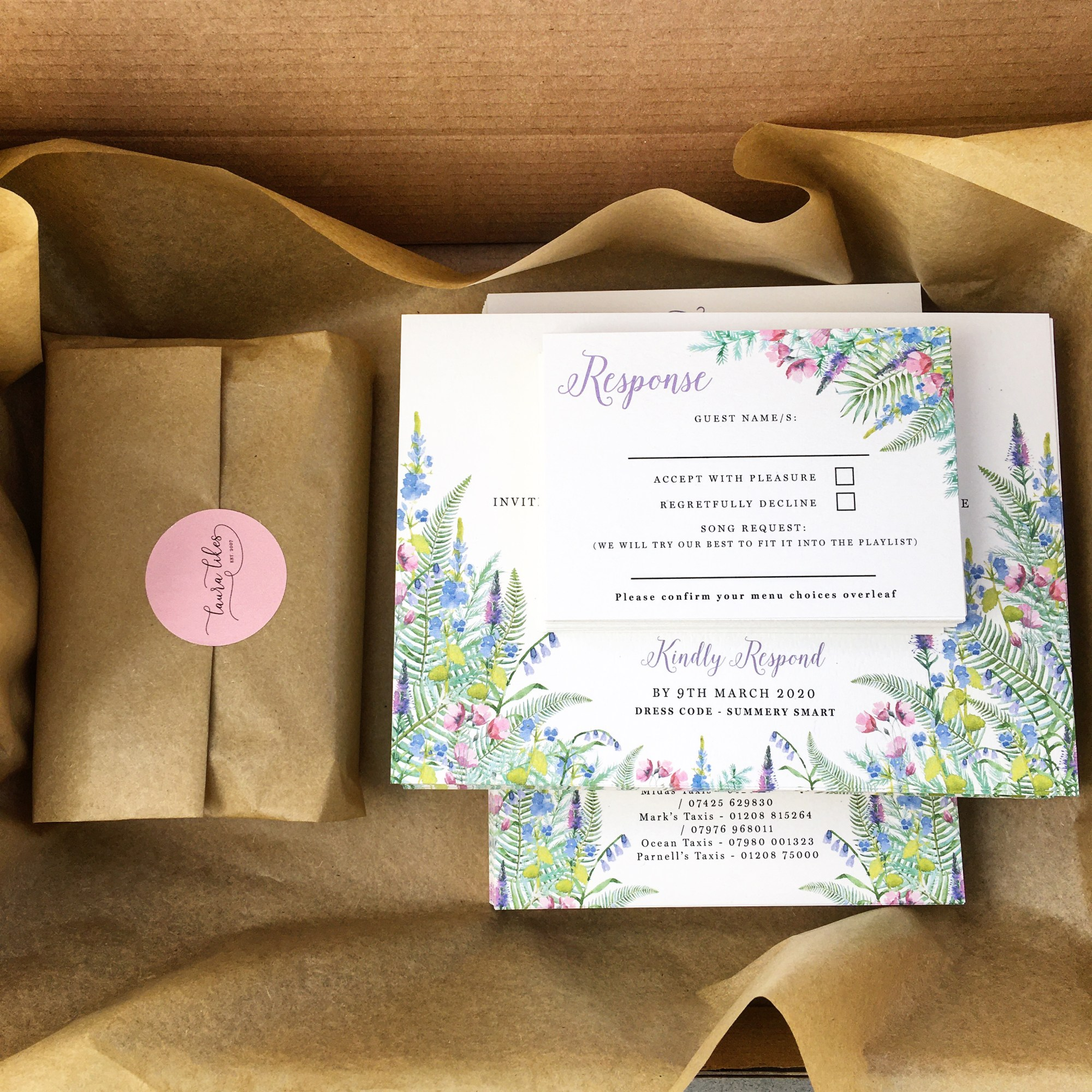 bluebells, woodland, wood, woods, bluebell, ferns, fern, wild, simple, foliage, green, pink, purple, wedding, invitation, invites, invitations, eco, recycled, Cornwall, Cornish, stationery, Laura Likes