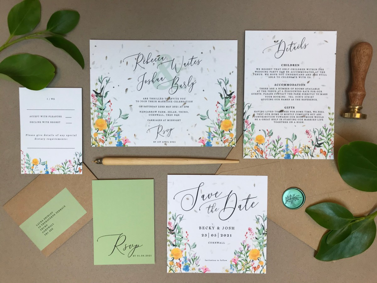 hedgerow, red, orange, yellow, blue, wildflower, boho, colourful, grasses, green, meadow, wedding, invitation, invites, invitations, eco, recycled, Cornwall, Cornish, stationery, Laura Likes