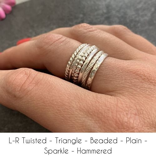 Silver stacking rings made in any size