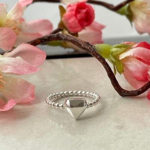 Silver diamond ring; proposal gift