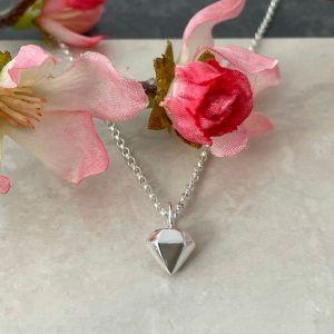 Silver Diamond Gemstone Pendant