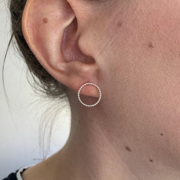 Small silver circle stud earrings