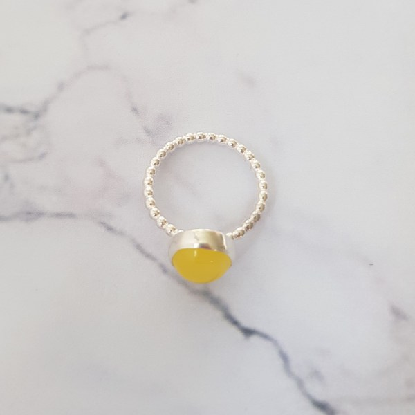 Yellow jade silver stacking ring