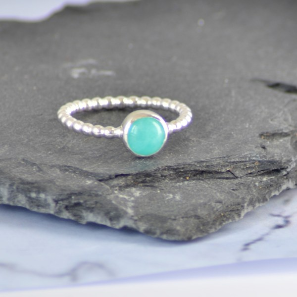 Amazonite Silver stacking ring