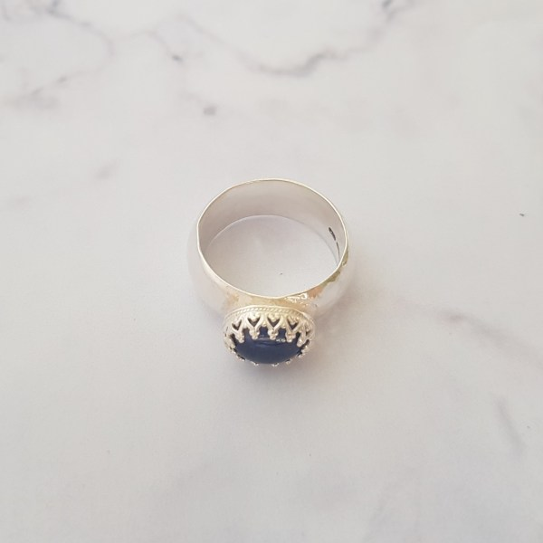 handmade Silver and kyanite gemstone cocktail ring