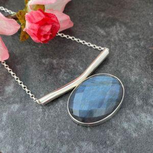 Labradorite gemstone pendant handmade in silver