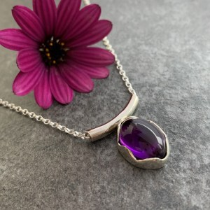 Silver and purple amethyst gemstone pendant