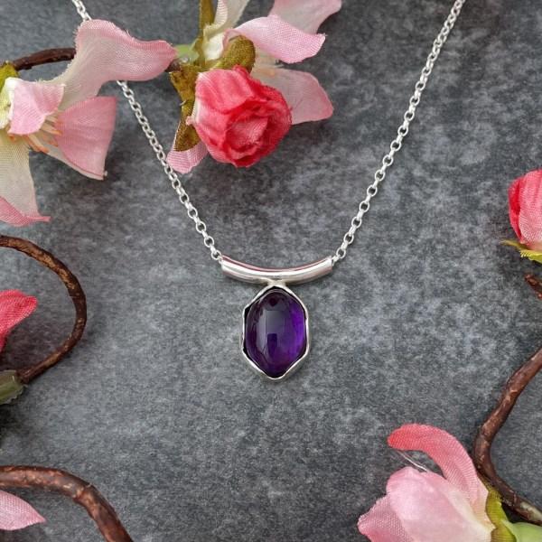 Purple amethyst handmade silver pendant