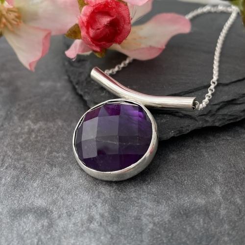 Silver amethyst gemstone pendant