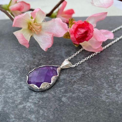 Purple amethyst gemstone pendant handmade in silver