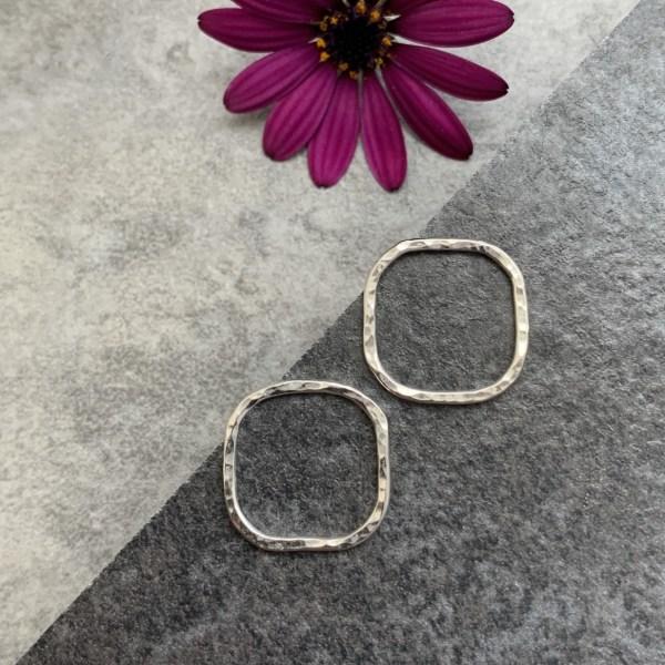 Hammered Silver stud earrings