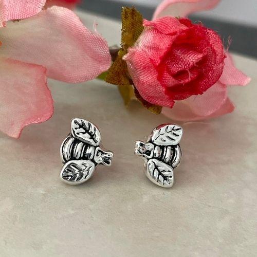 Bee stud earrings handmade in silver