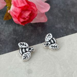 Bee stud earrings handmade in silver