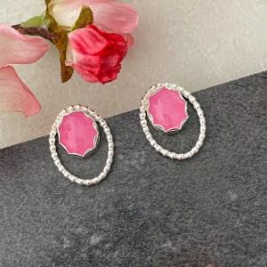 Pink gemstone earrings handmade in sterling silver