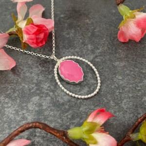 Pink jade handmade silver pendant by Laura Llewellyn Design