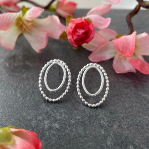 Sterling silver oval stud earrings